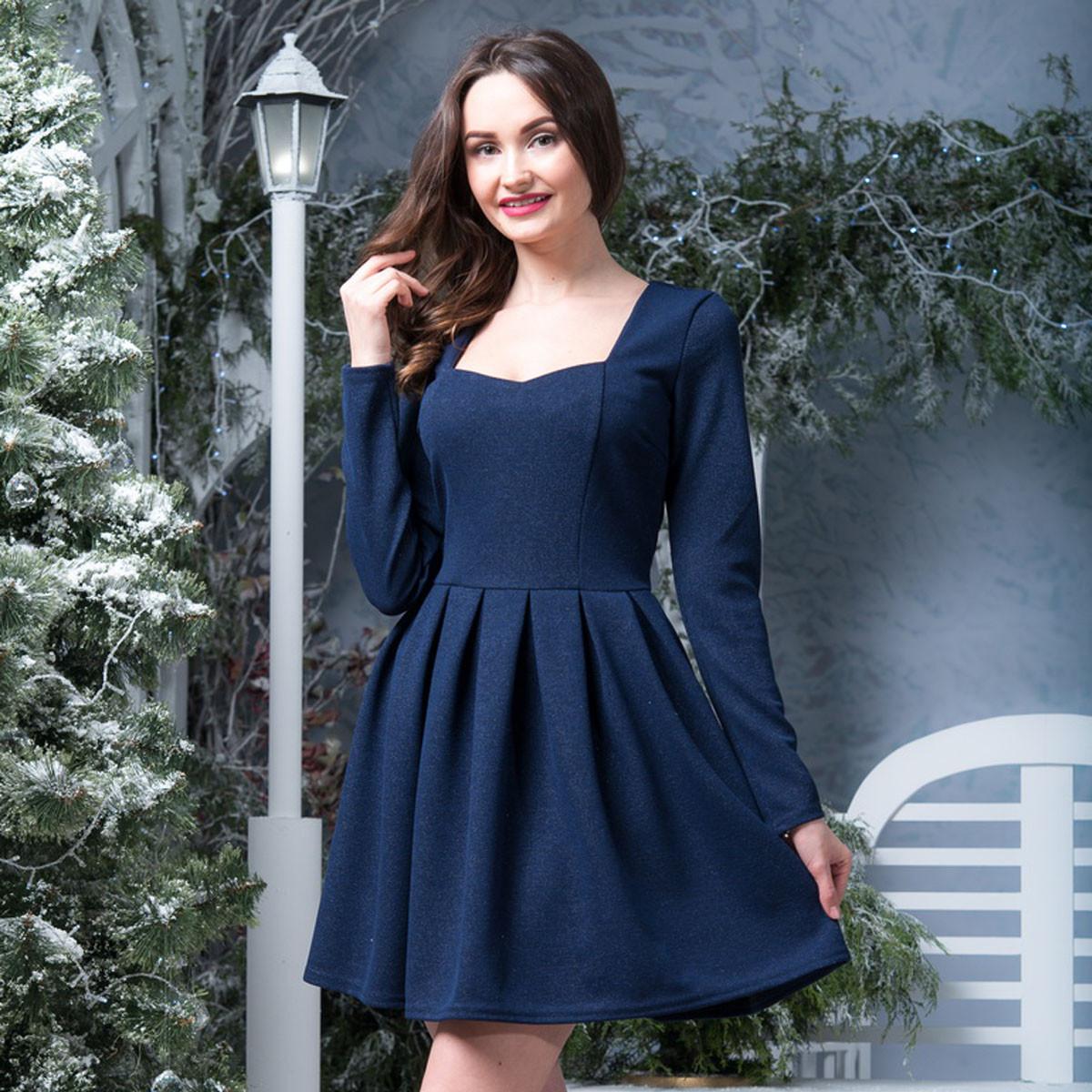 """Синее нарядное короткое платье """"Омега"""""""