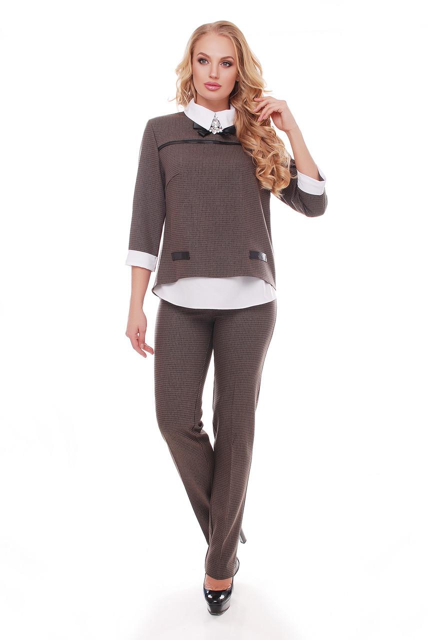 525e8ae2b11 Женский костюм с брюками в клетку Дуэт бежевый - V Mode