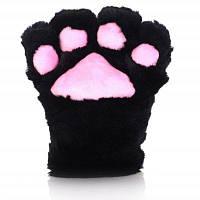 Милый мультфильм кошачий Коготь перчатки толстые плюшевые для мужчин мальчики женщины девушки Чёрный и розовый