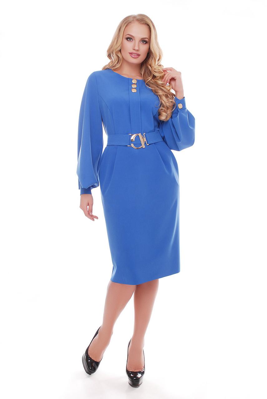 Васильковое женственное платье для полных Екатерина