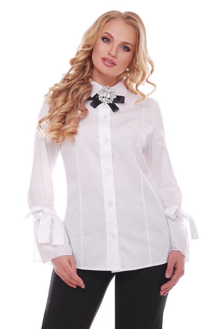 Біла красива блузка для повних жінок Агата