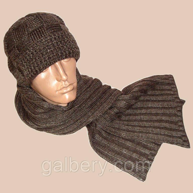 Вязаная мужская шапка с козырьком и шарф