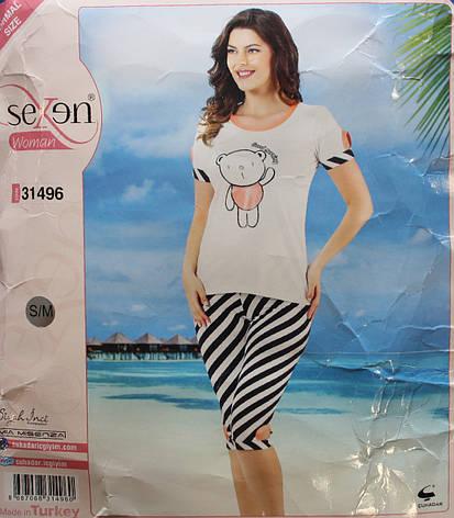 """Пижама для женщин: футболка и бриджи """"SEXEN"""" 31496, фото 2"""