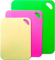 Набор 3 гибкие разделочные доски Fissman: зеленая, желтая, розовая
