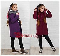 Детское подростковое кашемировое пальто для девочки. 4 цвета!