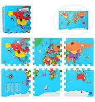 Коврик мозаика Карта мира 6деталей