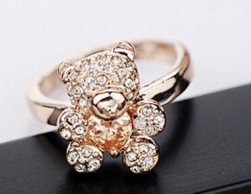 Колечко ВЕДМЕДИК ювелірна біжутерія золото 18к декор кристали Swarovski