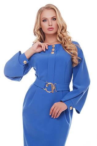 Васильковое женственное платье для полных Екатерина, фото 2