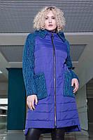 Женское стильное пальто больших размеров 622 / размер 48-62 / цвет электрик