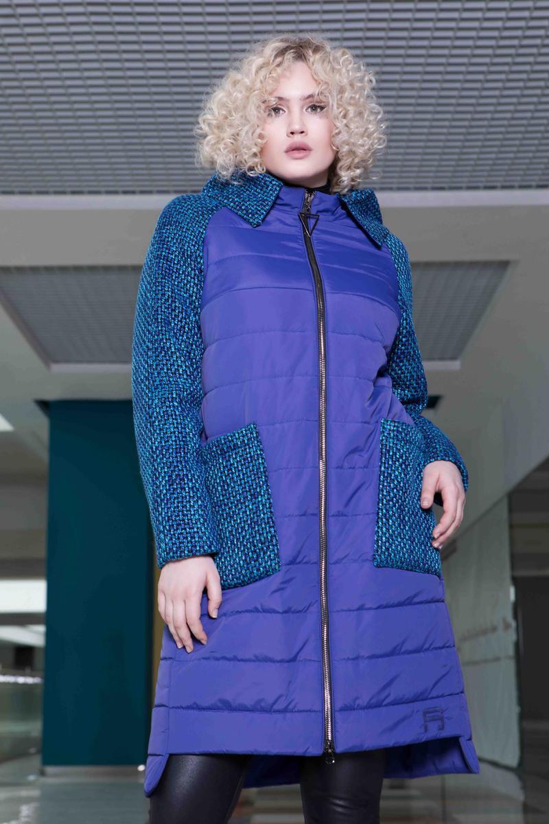 351b5806f4e6 Женское стильное пальто больших размеров 622 / размер 48-62 / цвет электрик  - АЛЛО