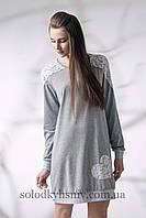 Жіноча сорочка довгий рукав ELLEN Біле Мереживо на сірому меланжі 087/001