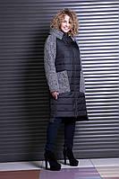 Женское стильное пальто больших размеров 622 / размер 48,50,52,54,56,64 / цвет черный