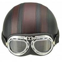 Мотоциклетный шлем с открытым лицом половина шлем с защитными очками для мотокросса с регулируемым шарфом коричневый шлем для Hare ретро открытого