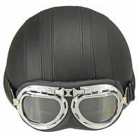 Мотоциклетный шлем с открытым лицом половина шлем с защитными очками для мотокросса с регулируемым шарфом черный шлем для Hare ретро открытого