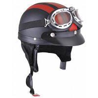 Мотоциклетный шлем с открытым лицом половина шлем с защитными очками для мотокросса с регулируемым шарфом красный шлем для Hare ретро открытого