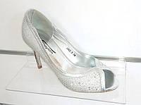 Туфли на шпильке серебро открытый носик 36,39,40размеры