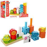 Деревянная игрушка Пирамидка - Геометрика Животные, MD 1133, 006420