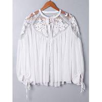 Оверсайз Женская Блузка С Кружевом И Цветочной Вышивкой M