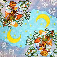 Салфетки для декупажа Трио снеговиков на голубом фоне 191