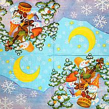 Серветки для декупажу Тріо сніговиків на блакитному тлі 191