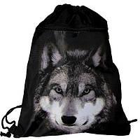 Рюкзак сумка для сменной обуви спортивный школьный принт Волк на шнурках черный с карманом Vombato 7875