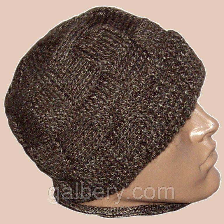 мужская вязаная шапка с козырьком на подкладке цена 420 грн
