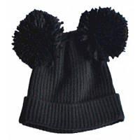 Детская шляпа с двойным шариком Чёрный