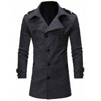 Шерстяное Однобортное Пальто С Погонами И Отложным Воротником