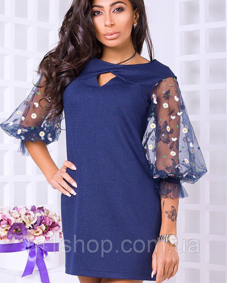 Красивое женское платье с рукавами из сетки (Ривьера lzn)