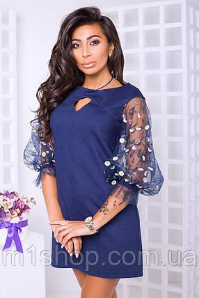 Красивое женское платье с рукавами из сетки (Ривьера lzn), фото 2