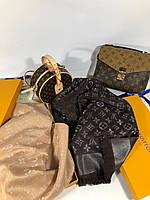 Шаль Louis Vuitton MONOGRAM SHINE коричневая (реплика), фото 1
