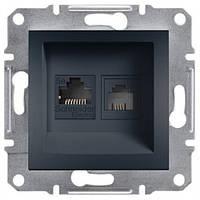Розетка Schneider-Electric Asfora Plus телефонная+компьютерная двойная антрацит