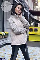 Женская стильная куртка с вязаными рукавами  новинка 2018