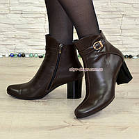 Женские кожаные коричневые демисезонные ботинки на невысоком каблуке, фото 1