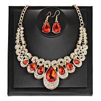 Искусственный Камень-Вставка Акрил Коренастый Ожерелье Костюм Красный