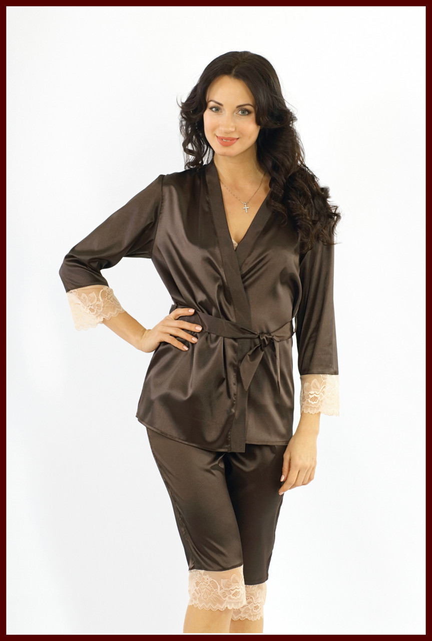 Ночной костюм (майка,бриджи, куртка) атлас + стрейч кружево коричневый