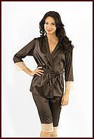 Ночной костюм (майка,бриджи, куртка) атлас + стрейч кружево коричневый, фото 1
