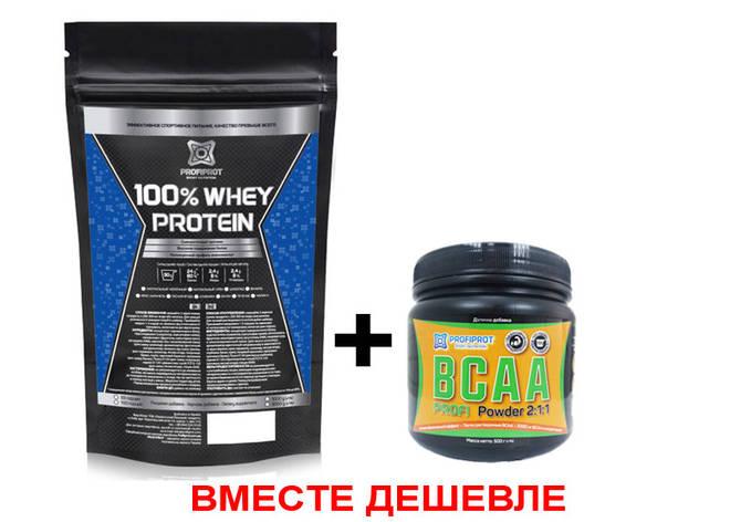 ВСЕ ВКЛЮЧЕНО! 100% Whey Protein 1кг + BCAA Profi 500г, фото 2