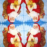 Красивые новогодние салфетки для декупажа Санта с мешком подарков 217