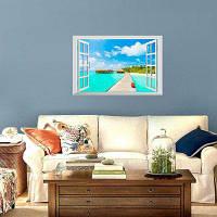 Съемный 3D пляж пейзаж стикер стены 48.5*72CM