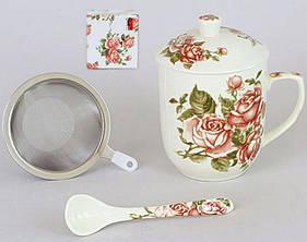 """Кружка-заварник """"Cream Rose"""" 300мл с металлическим ситом и керамической ложкой"""