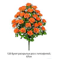Букет раскрытых роз с гипсофилом 120