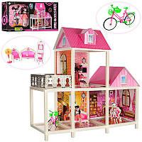 Домик 66912 (3шт) MH, 2 этажа, мебель, кукла шарнирная 25см 3шт, в кор-ке, 79-35,5-12,5см (Китай)
