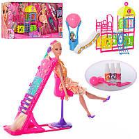 Мебель 66877 (12шт) игр.площ,кукла 29см,шарнир,дочка10см,трафарет,краска для волос,в кор,67-34-11см (Китай)