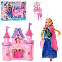 Замок 8806P (20шт) FR,принцессы,28см,муз,свет,мебель,кукла28,5см,на бат(табл),в кор,52,5-35,5-7,5см (Китай)