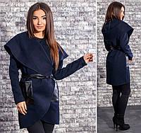 Женское кашемировое пальто с поясом и карманами из экокожи