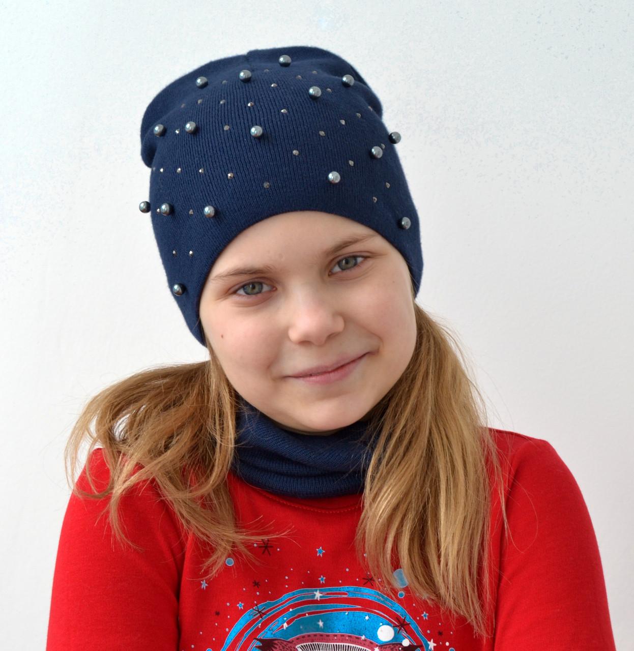 Вязанная весенняя шапка для девочек подростков