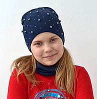 Вязанная весенняя шапка для девочек подростков, фото 1