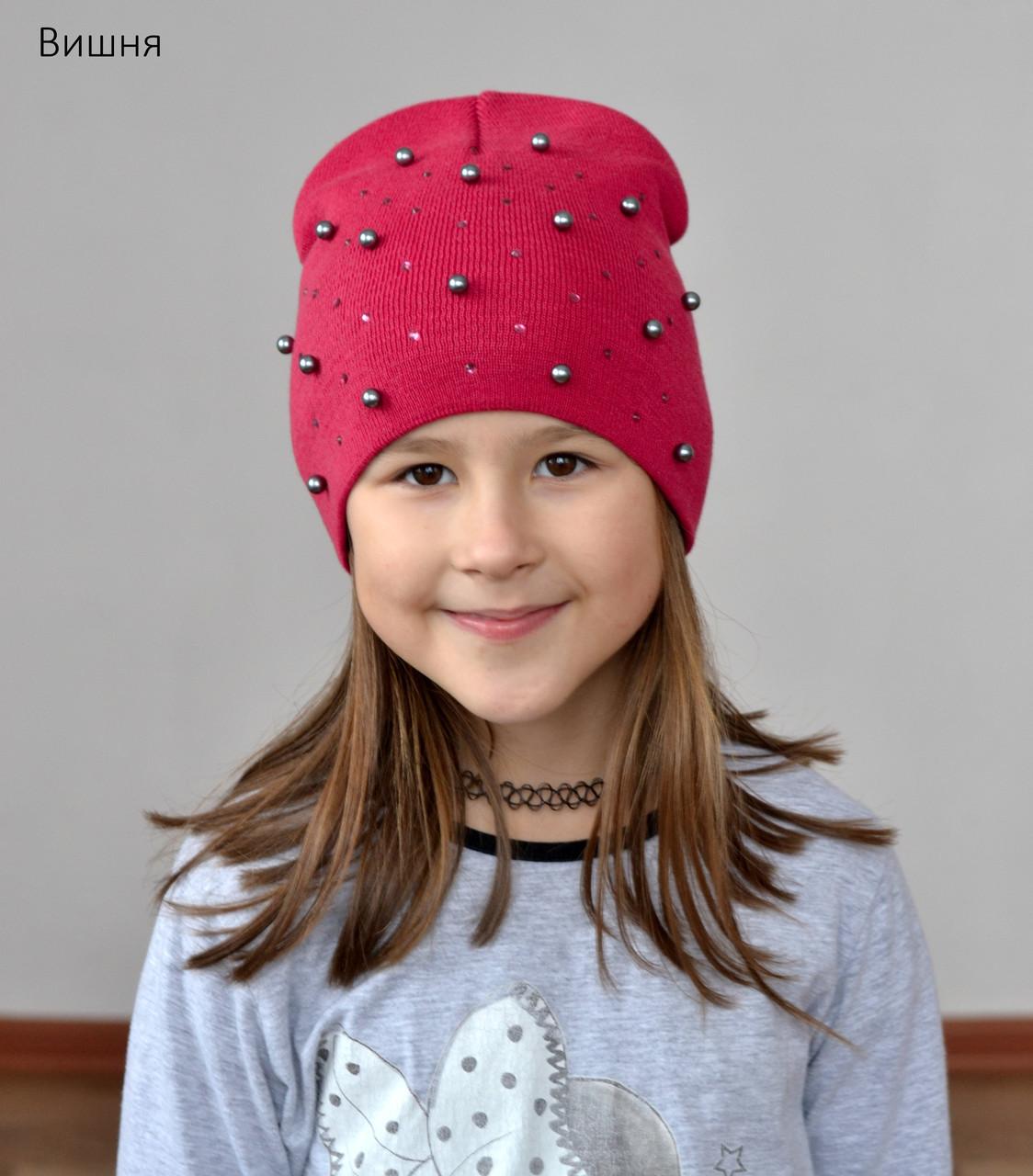 Стильная весенняя шапка для девочек Жемчуг