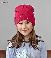 Стильная весенняя шапка для девочек Жемчуг, фото 1